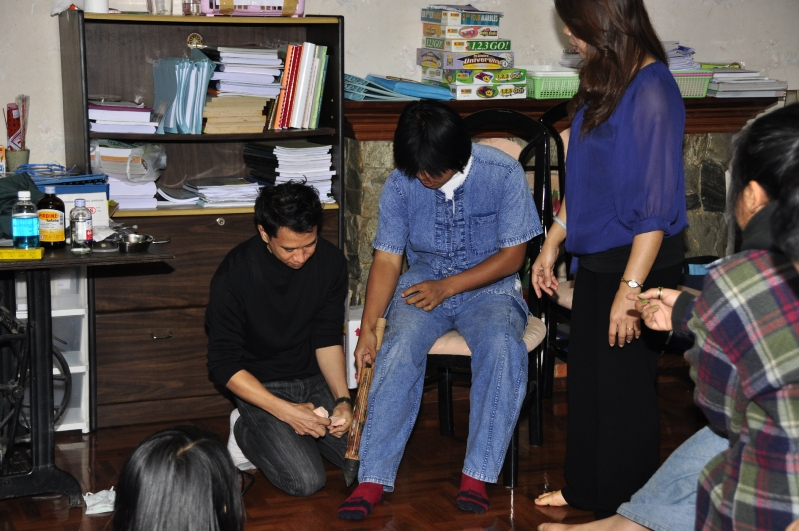 Panyaden Teachers learning first aid at their English School in Chiang Mai