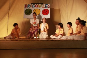 Prathom (Primary) students on stage at Panyaden School assembly hall