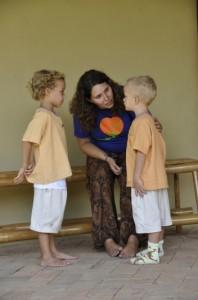Panyaden school teacher talking to 2 students