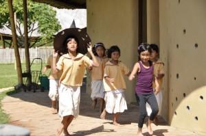 Happy students going to class, Panyaden School