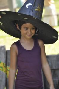 Panyaden School student in big black Halloween hat