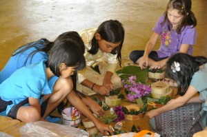 Students of different nationalities making krathongs at Panyaden School, bilingual school in Chiang Mai