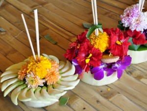 Krathongs made by Panyaden School students for Loy Krathong