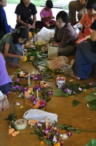 Making krathongs for Loy Krathong Festival at Panyaden School, bilingual school in Chiang Mai