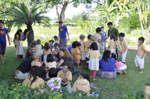 Panyaden School students and teachers making EM balls for Thai flood victims