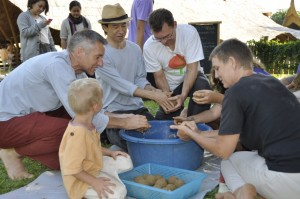 Panyaden School teachers and staff chipping in to make EM mud balls