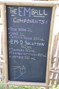 EM Ball Ingredients on Panyaden School Chalkboard