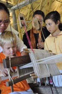 Traditional Thai weaving project at Panyaden School