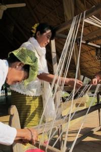 Preparing cotton yarn before weaving. Cotton fabric-making at Panyaden School