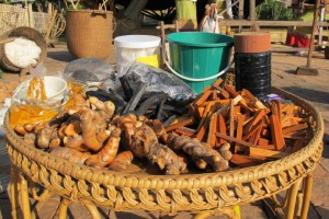 Bark, tumeric and other natural ingrediants are used for dyeing cotton