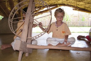 Spinning yarn. Panyaden School project