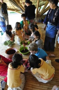 Dyeing cotton skeins and yarn at Panyaden School in Chiang Mai