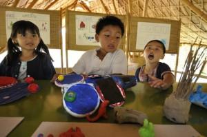 Kindergarten students presenting their science project at Panyaden School fair