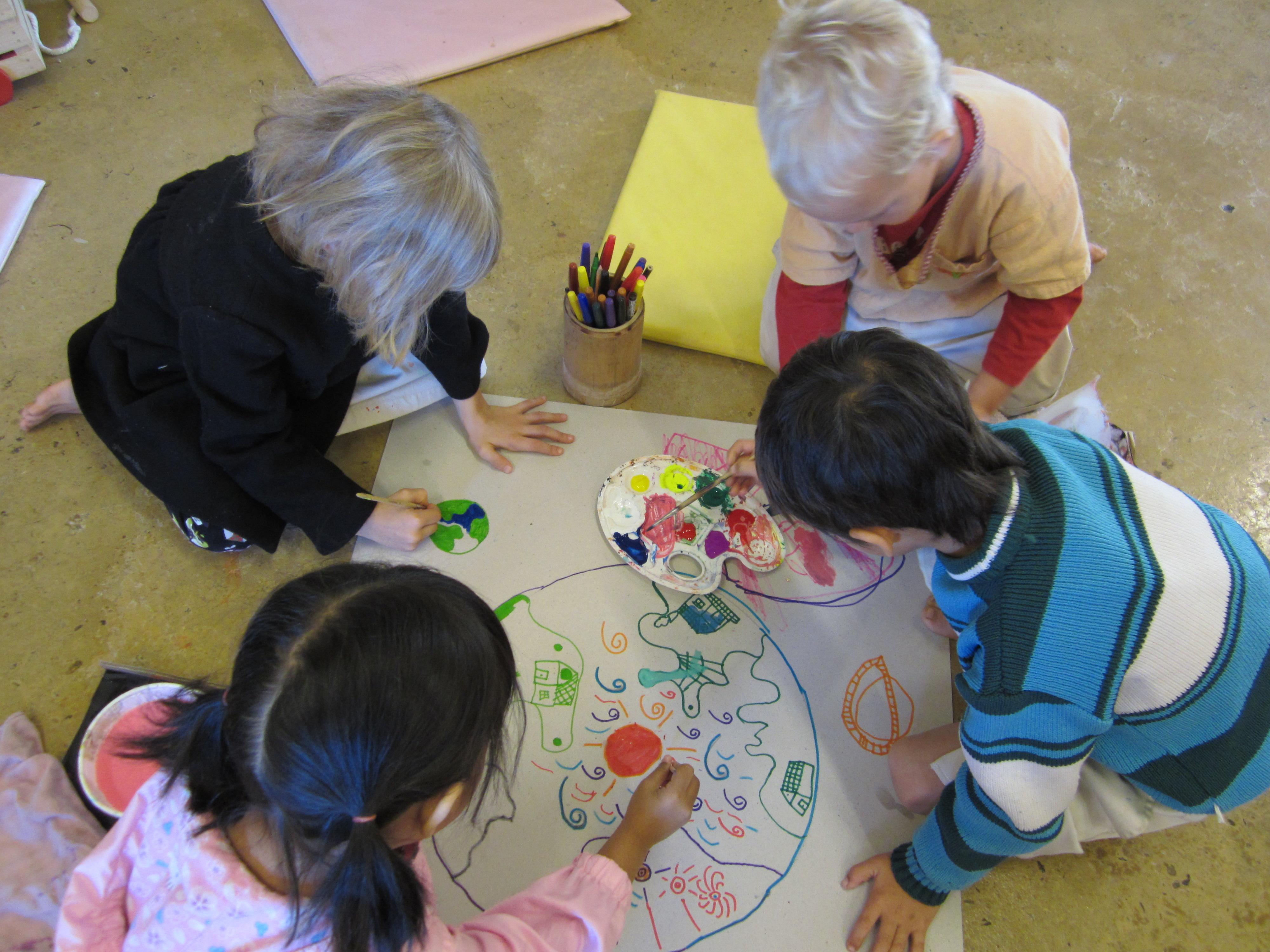 Mixed group of kindergarten students at Panyaden School, international school in Chiang Mai