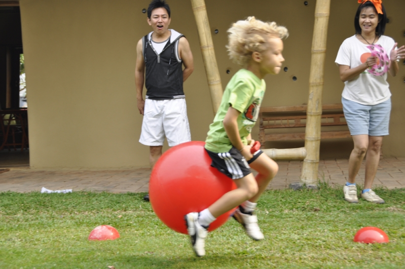 Student bouncing on ball at Panyaden School Sports Day