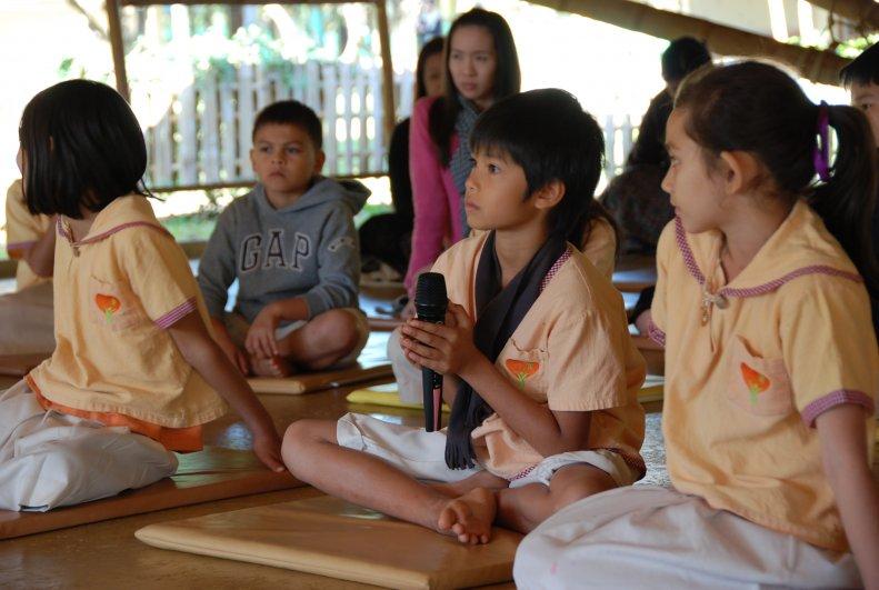 Panyaden School's Thai student asking questions during Dhamma Talk by Ajahn Jayasaro