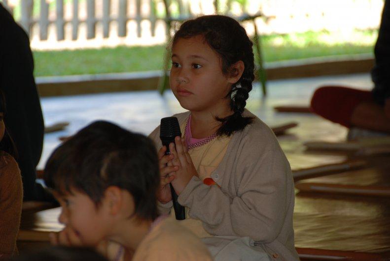 Kindergarten student asking questions, Panyaden School (bilingual school in Chiang Mai)