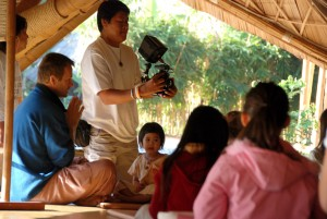 Thai TV crew (Channel 9) at Panyaden School, bilingual green school in Chiang Mai