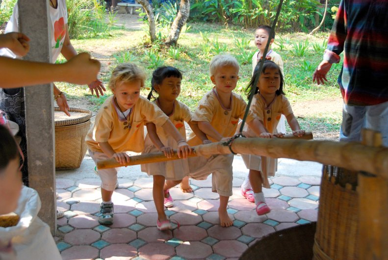 Panyaden School students at a rice mill in Lamphun