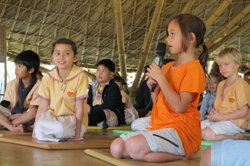 Student asking a question at Panyaden School's Dhamma Talk by Ajahn Jayasaro