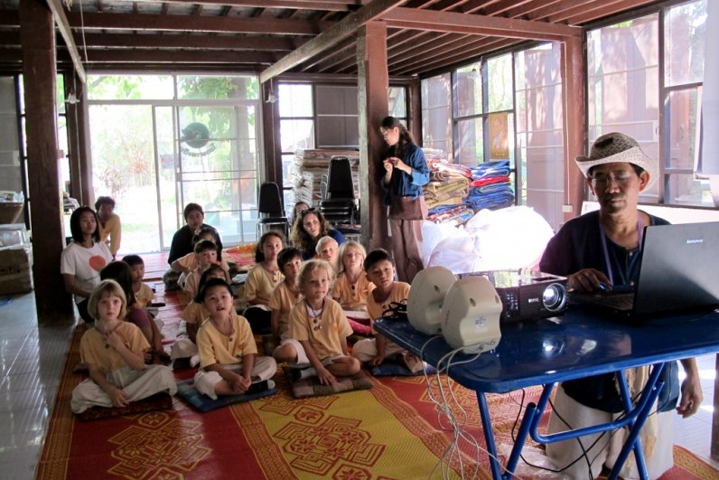 Panyaden School's kindergarten students at a rice mill in Chiang Mai