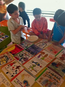 Panyaden School students selling their handmade books on Blossom Day at the school