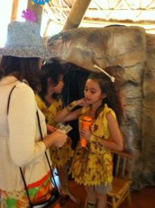Panyaden School student selling the cave tour to an interested parent