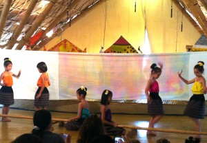 Primary students doing a dance number at Panyaden School
