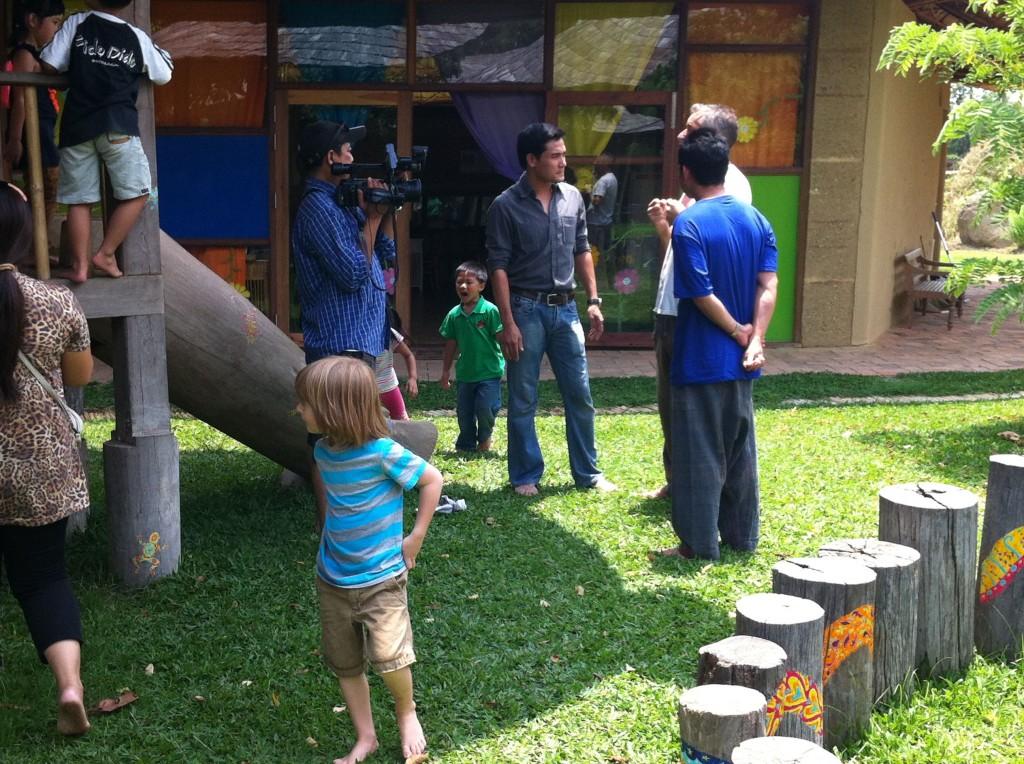 Thai TV crew at Panyaden School, bilingual school in Chiang Mai