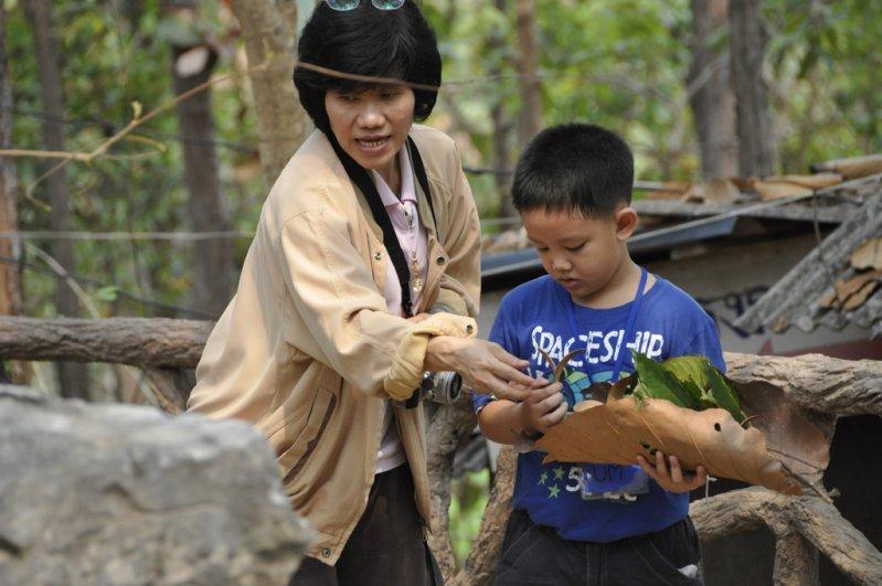 Panyaden Summer School teacher and students collecting leaves at botanic garden, Chiang Mai
