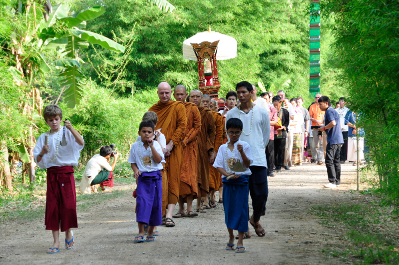 Panyaden student musicians and spiritual advisor, Ajahn Jayasaro leading procession at school's opening ceremony
