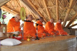 Chants of blessings by Buddhist clergy at Panyaden School