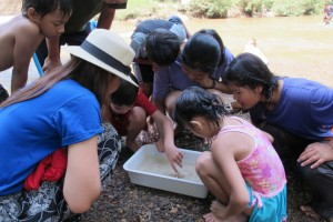 Panyaden students studying studying insect at Opkhan National Park