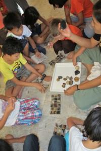 Panyaden Summer School students categorizing rocks and stones