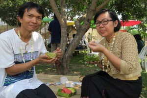 Panyaden School teachers enjoying their snacks at the school's official opening