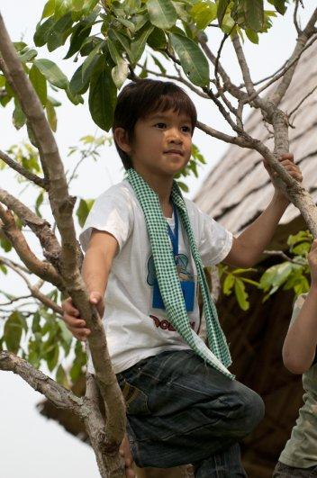 Panyaden School summer school student up on a tree