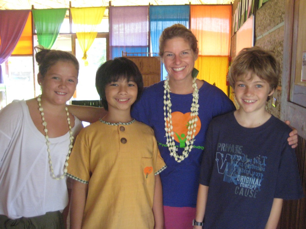 Foreign teacher with Panyaden School's students, Chiang Mai