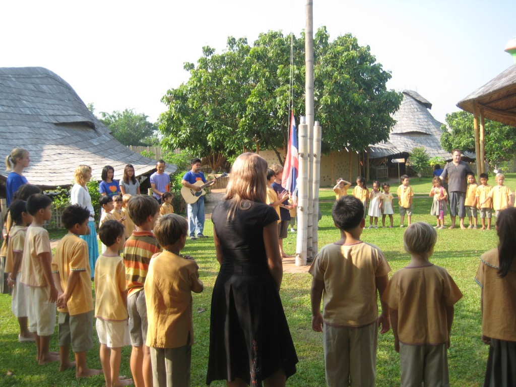 Flag raising at Chiang Mai's bilingual Panyaden School's first day of second school year