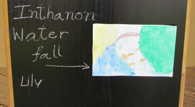 Drawing of Doi Inthanon Waterfall by Panyaden School primary student