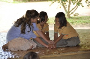 Primary school girls role playing in school assembly hall at Panyaden, international school in Chiang Mai