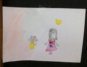 Girl and cat watercolour painting by prathom 1 student of Panyaden School