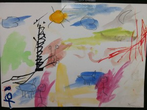 Sunny skies, animals and people - Panyaden School student's painting