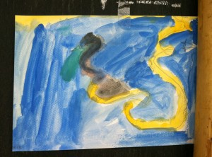 Blue and yellow painting by primary student of Panyaden School, international school in Chiang Mai
