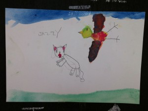Bird flying over cat - painting by student of green school in Chiang Mai, Panyaden