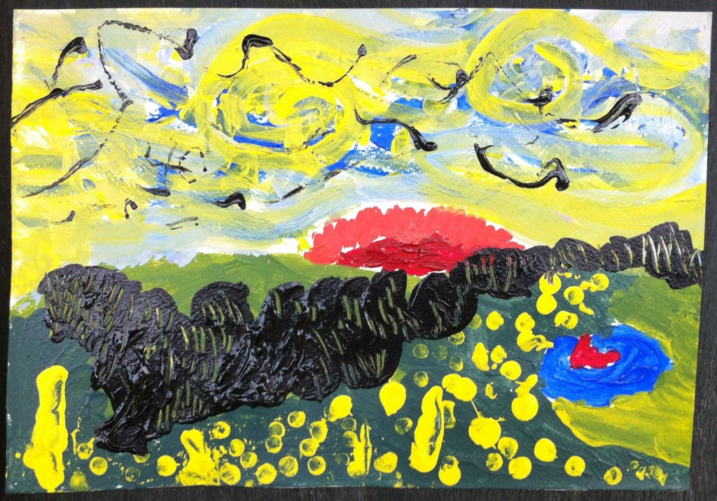 Sunny skies and rolling hills - impressionist painting by Panyaden School primary student
