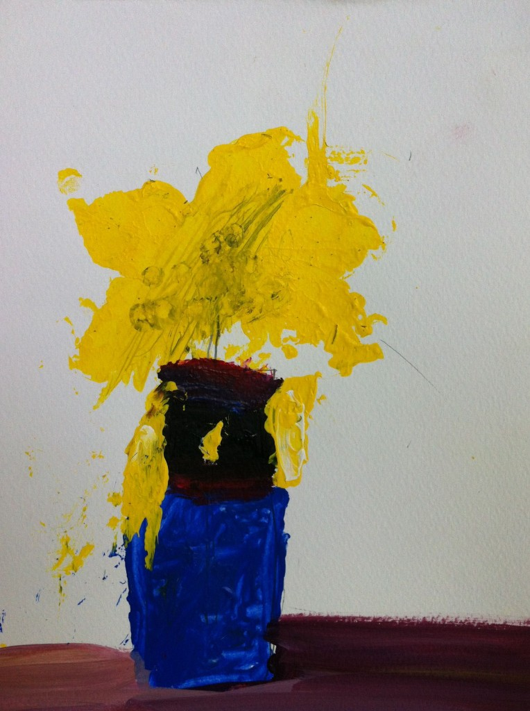 Vase of yellow flowers - impressionist painting by student of Panyaden School, Chiang Mai
