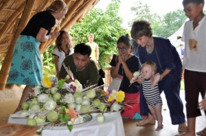 Visakha Bucha flower offerings at intenational bilingual school in Chiang Mai, Panyaden