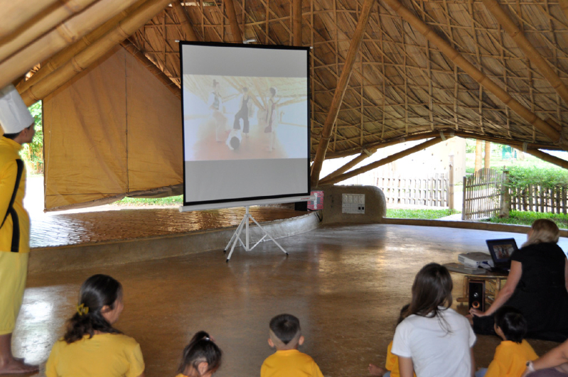 Students watching video about practicising wise habit at Panyaden, bilingual school in Chiang Mai
