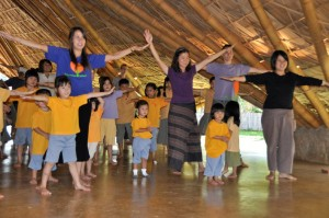 Students and teachers of bilingual school in Chiang Mai, Panyaden School