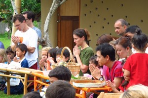 Panyaden School offering alms as part of Visaka Bucha celebrations